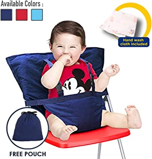 Comfecto Baby High Chair Harness, Travel High Chair for Baby Toddler Feeding Eating, Portable Easy Seat with Adjustable Straps Shoulder Belt, Holds Up to 44lbs, Hand Wash Cloth Included