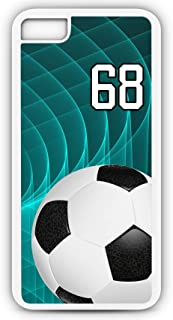iPhone 6s Case Soccer SC048Z Choice of Any Personalized Name or Number Tough Phone Case by TYD Designs in White Plastic and Black Rubber with Team Jersey Number 68
