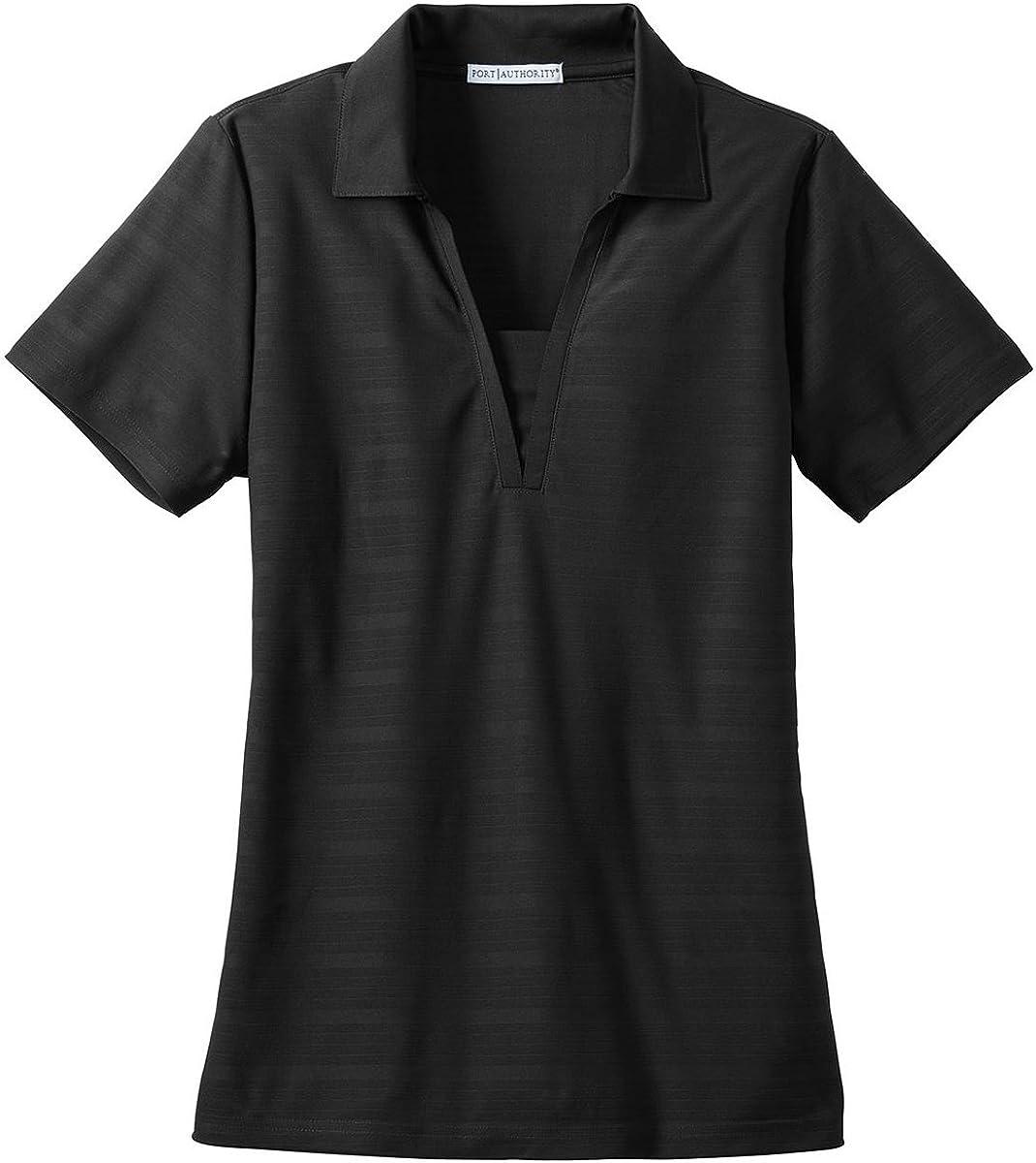 Port Authority Ladies Horizontal Texture Polo - Black L514 L