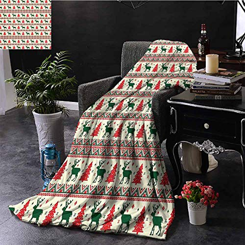 GGACEN Reisdeken Breien Thema Chevron Pixel Art Patroon Scandinavisch Ornament Klassieke Motieven Gezellig en Duurzaam Stof-Machine Wasbaar