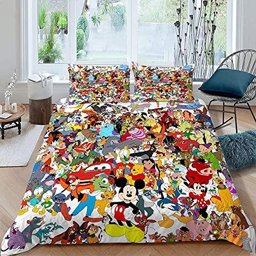 Juego de ropa de cama para niños 3D Star Cartoon Print 1 funda de edredón con 2 fundas de almohada Juego de funda de edredón 3 piezas Mic-key M-inne Super King Size