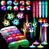 74 Pcs Light Up Toy Party Favors Glow in the Dark Party Supplies for Kid Adults with 44 Finger Lights 8 Jelly Rings 6 Glasses 4 Bracelets 4 Necklaces 4 Fiber Optic Hair Lights and 4 Spinning Top