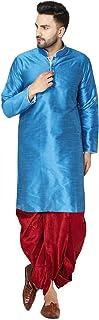 فستان رجالي من SKAVIJ مطبوع عليه رسومات حرير Dhoti كورتا مجموعة ملابس تقليدية