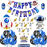 Globo de Astronauta, Decoración de Fiesta de Cumpleaños de Globo de Lámina de Cohete de Astronauta, Decoración de Fiesta Temática del Espacio Exterior, Pancarta de Feliz Cumpleaños