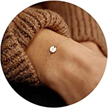 Glimmerst Personalized Initial Bracelet, 18K Gold Plated Stainless Steel Letter Bracelet Dainty Coin Charm Bracelet Delica...