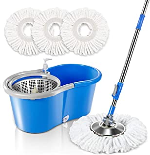 Spin Mop Bucket System with 3 Microfiber Mop Heads 5L Stainless Steel Mop Bucket with Detergent