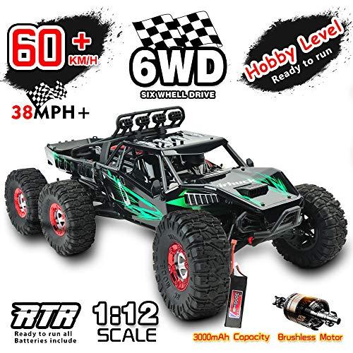 GizmoVine Bürstenlose Ferngesteuertes Auto, 1:12 Hoch Geschwindigkeits RC Auto 6WD 60+ KM / H, RC-Monster-Truck , Geländefahrzeug für Kinder und Erwachsene