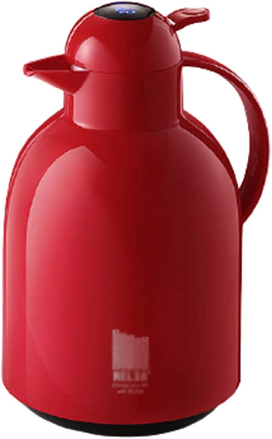 DJiess Jarra Térmica Termo/Temperatura De La Pantalla LED Inteligente Jarra Isotérmica/Jarras para El Té Y El Café/Jarra Térmica/De Té Y Café para Catering Red,1500ml