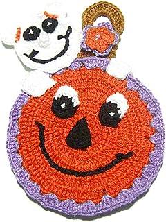 Agarradera calabaza naranja con fantasma para Halloween de ganchillo - Tamaño: 11.5 cm x 17 cm H - Handmade - ITALY