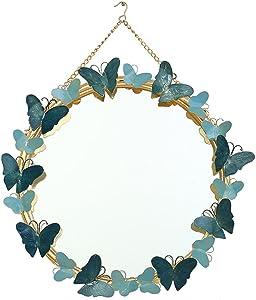 Entrée Tenture Murale en Fer Forgé Miroir Décoratif Creative Salon Fond Décoration Murale Chambre Dressing Table Ronde Miroir De Maquillage (Couleur : Bleu)