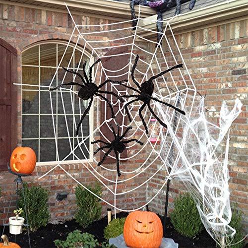 AniSqui 3.5m Gigante Halloween Spider Web + Tres Grandes con Aspecto Realista Hairy arañas + 40g Telaraña de araña de Halloween Estirable para Mejores Decoraciones de Halloween Props by
