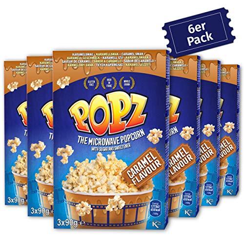 Popz Caramel Popcorn 6er Pack (6 x 270 g) – Popcorn Mais für das perfekte Filmerlebnis zu Hause – Mikrowellenpopcorn mit leckerem Karamellgeschmack
