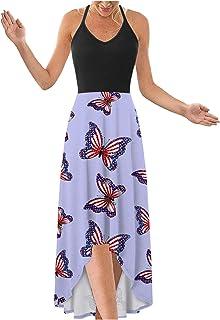 فستان ماكسي للنساء ، مثير الخامس الرقبة عارية الذراعين السباغيتي حزام لون خالص فساتين طويلة الشاطئ فستان حفلة