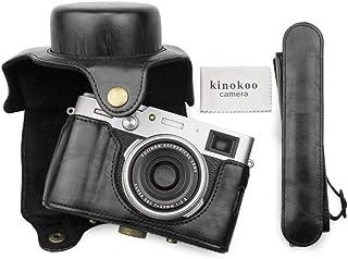MUZIRI KINOKOO Schutzhülle für Fujifilm X100V Kamera Tasche mit Schultergurt, FUJI X100V Tasche PU Leder (schwarz)