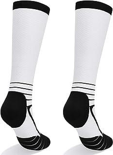 YUEDGE Non-slip Compression Socks for Women & Men Best Running, Athletic Sports, Flight Travel(15-22 mmHg, 2 Pairs)