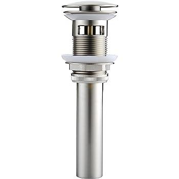 Aquafaucet 1 5//8 Bathroom Faucet Vessel Vanity Sink Pop up Drain Stopper with Overflow Brushed Nickel