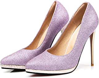Women's Closed Pointed Toe Pumps,Stilettos High 12.5 cm High Sequined Solid Color Wedding Shoes Suitable for Daily Banquet...