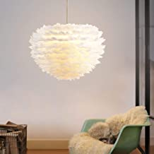 DORLIONA Pendant Feather Lamp Romantic Dreamlike Feather Droplight Bedroom Living Room Parlor Hanging Lamp E27 Warm light-...
