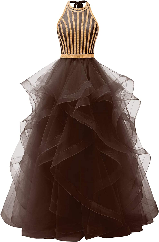 卸売り Chupeng Women's Halter Prom Dresses 直輸入品激安 Tulle Tiered Crystal Fo Long