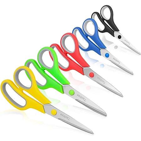 "Scissors, Taotree 8"" Multipurpose Scissor Bulk Pack of 5, Stainless Steel Sharp Scissors for Office Home General Use, High/Middle School Classroom Class Teacher Student Older Kids Scissors Supplies"