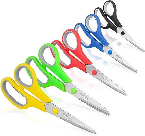 """Scissors, Taotree 8"""" Multipurpose Scissor Bulk Pack of 5, Stainless Steel Sharp Scissors for Office Home General Use,..."""
