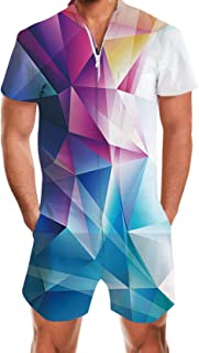 Mens 3D Graphic Rompers Summer Hipster Short Sleeve Jumpsuit