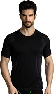 MD Men's Moisture-Wicking Short Sleeve T-Shirt Running Fitness Workout Base Layer Shirt Blacks