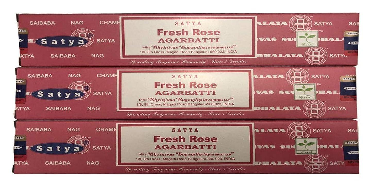 アシュリータファーマン不毛歯Satya Nag Champa?–?Fresh Rose Incense Sticks?–?パックof 3?( 15グラム各)