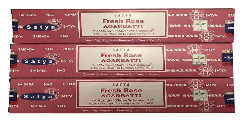 信じる妥協生じるSatya Nag Champa?–?Fresh Rose Incense Sticks?–?パックof 3?( 15グラム各)