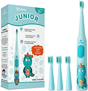 Vekkia Dragon Lord Sonic Rechargeable Kids Electric Toothbrush, 3 Modes With Memory, Fun & Easy Cleaning, 31000 Strokes, IPX7 Waterproof, 2-Min Timer for Age 3+, 4 Soft Bristles