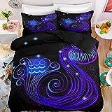 AKTYGB Negro Púrpura Fundas Edredon Cama 200x200cm,Doce Constelaciones Impresión 3D Acuario Decoración Patrón,Microfibra Mullida y Suave Funda Edredon Cremallera con 2 Fundas de Almohada 50x75cm