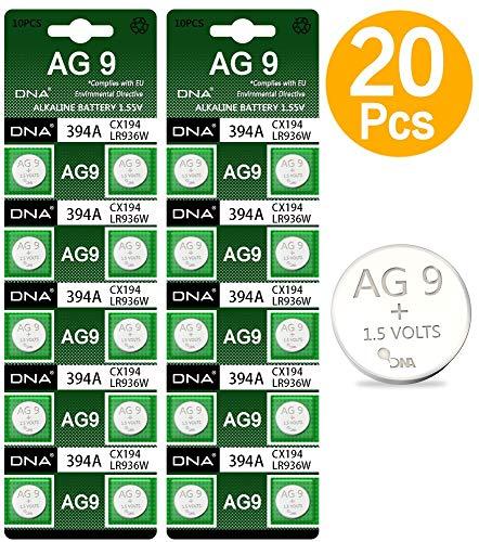 DNA - 20 batterie AG9 LR45, multicolore (confezione da 20)