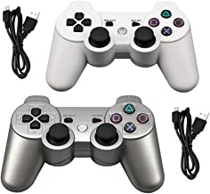 Tidoom PS3 Controller 2 Pack Wireless Bluetooth Six Axis Controllers Gamepad Compatible for Playstation 3 Dualshock 3 White + Silver