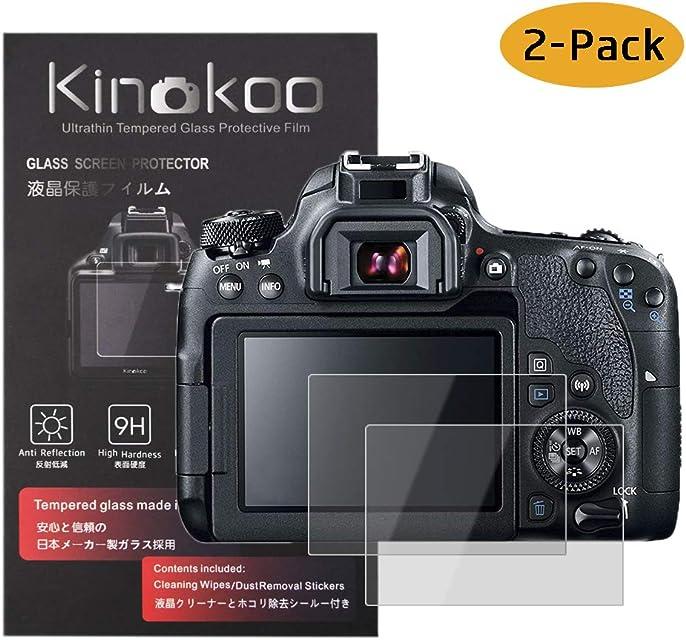 kinokoo Película de Vidrio Templado para Canon EOS 90D/70D/77D/80D/700D/750D/760D/800D Crystal Clear Film Protector de Pantalla Canon sin Burbujas/antiarañazos (Paquete de 2)