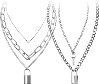 Lock Chain Necklace, Egirl Chains, Statement Lock Key Pendant Necklace Silver Se