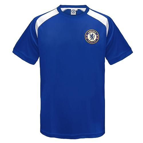 88e5c6fd3 Chelsea FC Official Football Gift Boys Poly Training Kit T-Shirt Blue White