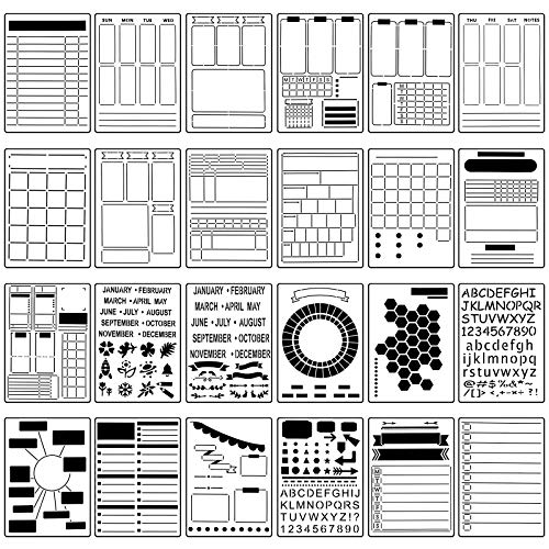 24 Pieces Journal Stencil Set Plastic Planner Bullet Journaling Stencils Ultimate Productivity Stencil DIY Templates to Create Calendars Schedule for A5 Journal Scrapbooking Notebook (Classic Style)