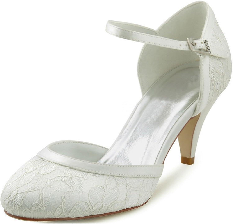 Minishion Women's Almond Toe Handmade Retro Lace Bridal Wedding Evening shoes