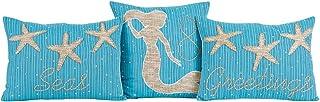 VHC Brands Nerine Blue Cotton Decorative Mermaid Throw Pillows, Set of 3