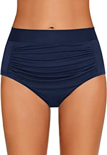 b3c1dae686c GRAPENT Women's High Waisted Swim Bottom Ruched Bikini Tankini Swimsuit  Briefs