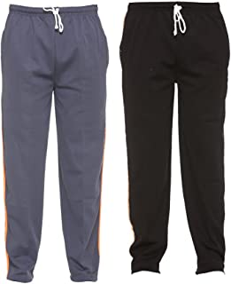 VIMAL JONNEY Multicolor Striped Cotton Blended Trackpants for Men (Pack of 2)-D6LGRAY_D6BLK_02-P