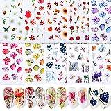 FLOFIA 10 Fogli Adesivi Unghie Fiori Nail Stickers Autoadesivi per Unghie Decalcomanie per Decorazione Nail Art Adesivi Unghie Floreali Fai da Te