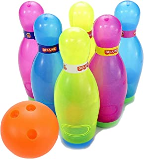 Liberty Imports Deluxe Kids Toy Bowling Play Set with 6 Large Pins, Bowling Ball and Mini Shakers