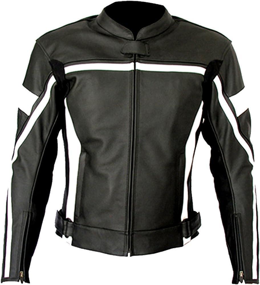 Classyak Men's Real Leather Cowhide Motorcycle Racing Jacket