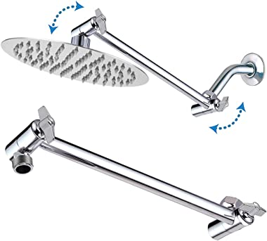 Rain Shower Head with 11'' Adjustable Arm, NearMoon High Pressure Stainless Steel Rainfall Showerhead, Ultra-Thin Des