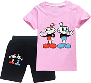 Cu-P.H.E-A-D Toddler Short Sleeve T-Shirt and Shorts 2 Pieces Set Boys and Girls Summer Tracksuit