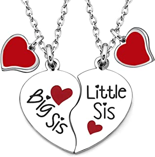 JJIA Sister Gifts, 2 Pcs Sister Necklace Heart Shape Necklace Thanksgiving Birthday Gifts