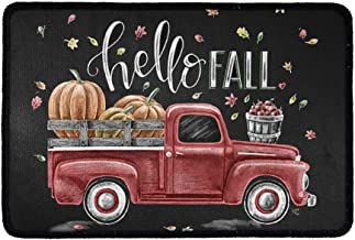 Belidome Hello Fall Door Floor Mats, Pumpkin Farm Truck Decor, Indoor Entryway Outdoor Entrance