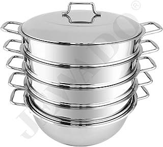Mantowarka - Juego bio gardampf - Juego de cacerolas de acero inoxidable con fondo de inducción (con asas de metal) en diferentes tamaños (24/26/28/30 cm), metal, 30cm