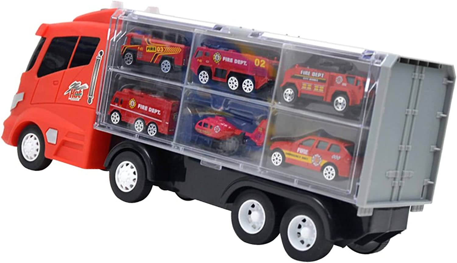Baoblaze Alloy Diecast Vehicle Set, 6 Fire Engine Cars with a Red Container Truck, Kids Creative Toy 7pcs Set